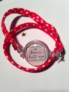 Bijoux Bracelets Support Cabochon & breloques tissus Merci MAITRESSE : Bracelet par by-s