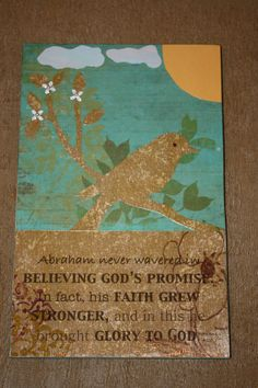 Wood panel decoupaged with paper, cut out bird, sun, clouds and tree branch.  Bible verse printed on the computer.