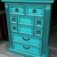Chunky Dresser in distressed Turquoise and Black Glaze accenting detailed areas