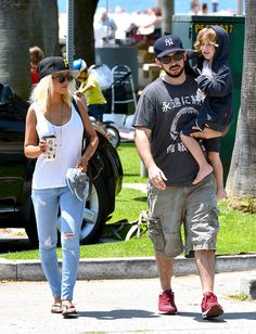 Skinny and amicable! Slim Xtina and her ex-husband bond with their son Max.