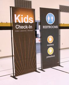 Looking to upgrade your church's signage? Take a look at the many options available for indoor signage available for the church. Kids Church Decor, Youth Decor, Kids Church Rooms, Church Nursery, Church Ideas, Church Decorations, Church Lobby, Church Foyer, Church Interior Design