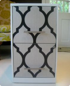 Spray paint + wallpaper makeover of old filing cabinet  SOOOO Doing this in whatever design color matches our office!!