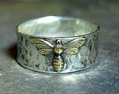 Wide Band Sterling Silver Bee Ring - Queen of Bees. $69.00, via Etsy.