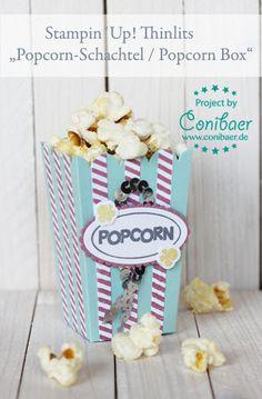 www.conibaer.de kleine Popcorn Schachtel / Snackidee / kleiner, schöner Snack für´s Buffet / Party Snack / Basteln / Stanzen / Big Shot - small popcorn box / snack / buffet idea / party snack / paper crafts / Die Cut