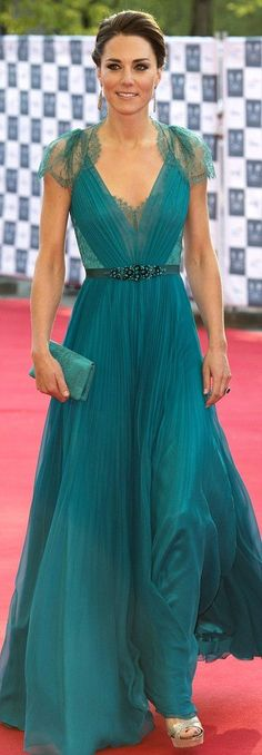 Jenny Packman. Amazing. Kate in this teal gown is stunning fashion.