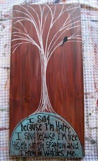 for his eye is on the sparrow, and i know he watches me.     cute to paint in the house.