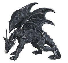 "5.25"" Black Medieval Dragon Walking on all Fours Decor Fantasy Statue Figurine"
