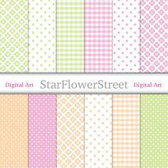 digital paper scrapbook printable baby girl paper girl scrapbook green peach polka dot gingham pink baby shower small polka dot StarFlowerStreetDA on Etsy: (3.50 USD)