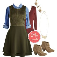 In this outfit: On Cloud Nineties Dress, Chambray Ole Top, Charter School Cardigan in Rust, Tres Together, Stay Together Earrings, Two Frond of You Necklace, Cute Scootin' Boogie Bootie #layering #fall #1990s #fashion #ModCloth #ModStylist