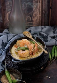 Bhapa Shorshe Chingri: Steamed Prawns in Mustard, Poppy Seed Sauce