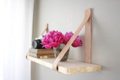 DIY Leather Suspended Shelf via Camille Styles