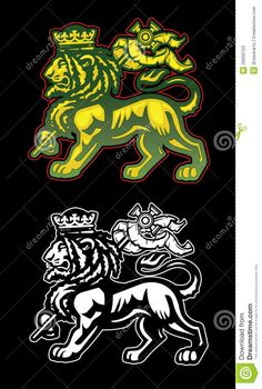Rastafarian illustration of the lion of Judah with dreadlocks and ...