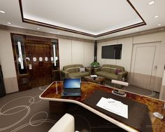 The office of a Boeing Business Jet. Corporate flight attendant training details at www. Ceo Office, Luxury Office, Boeing Business Jet, Private Jet Interior, Private Flights, Contemporary Cabin, Executive Suites, Flight Attendant, Business Travel