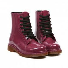 Korean Style Women's Rain Boots With Solid Color and Lace-Up Design 12.05 $
