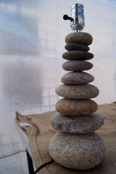 Beach Rock Cairn Lamp Curious craft diy rock/cairn lamp. For all those rocks you collected at the beach. AFS