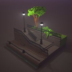 #stairs made with #magicavoxel. #voxelart #voxel #fog