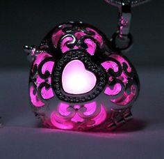 "Radiant Pink Glowing Heart  in 925 Sterling Silver SP With 18"" Sterling Silver SP Snakechain, Glow Pendant, Glow in the Dark, Glow Jewelry"