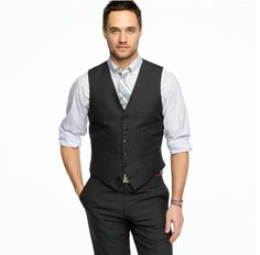 Okay. So this is similar to what I've already pinned. But this one has a shirt with a faint pattern, and the slacks and vest are gray. So it's different.