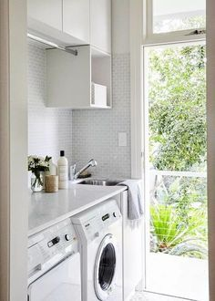 20 Minimalist Laundry Room Ideas For Small Space. 20 Minimalist Laundry Room Ideas For Small Space. Today when space is at a premium, the area available for your laundry may be very limited. By using clever […] Small Laundry Rooms, Laundry In Bathroom, Small Bathroom, Bathroom Ideas, Kitchen Small, Bathroom Mirrors, Compact Laundry, Laundry Decor, Smart Kitchen