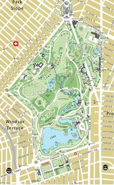 Map of Prospect Park. This is an older map, Brett's idea is to use as seating chart & name each table after a different part of the park. LOVE IT