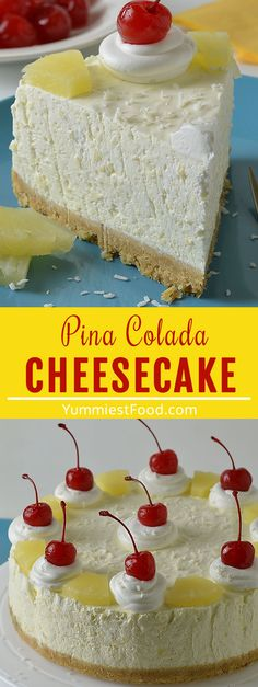 Piña Colada Cheesecake is a quick and easy dessert recipe for a refreshing summer sweet treat! Pineapple, coconut, and rum all the flavors of your favorite tropical cocktail in a delicious dessert form! #desserts #dessertrecipes #easyrecipes #cheesecakerecipes #cheesecake Pina Colada Cheesecake Recipe, Best Cheesecake, Cheesecake Recipes, Easy Desserts, Delicious Desserts, Dessert Recipes, Yummy Food, Sweet Treats, Food And Drink