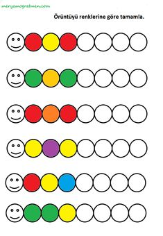 An activity that will contribute to your children's cognitive development. Find and paint next color. Creative Activities For Kids, Preschool Learning Activities, Math For Kids, Kids Learning, Visual Perception Activities, Visual Motor Activities, Preschool Writing, Kindergarten Math Worksheets, Kids Education