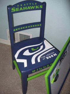 Read More About Hawk chair! Seahawks Fans, Seahawks Football, Seahawks Memes, Football Helmets, Painted Chairs, Hand Painted Furniture, Wooden Chairs, Seattle Sounders, Seattle Seahawks