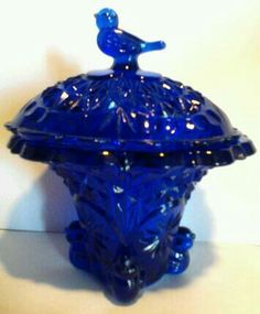 Cobalt Candy dish in my collection Cobalt Glass, Cobalt Blue, My Glass, Amber Glass, Dining Room Blue, Coloured Glass, Fenton Glass, Vintage Dishes, Opaline