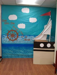 Sailing Into a New School Year! Huge corner sailboat on leftover wooden laminate (taped to the floor on the outer edge).  (Sailor, Sailors, Theme, Pirate, Aquatic, Nautical)