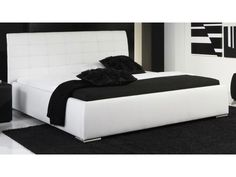 Lit design blanc avec tête de lit matelassée Gabriel 160x200 cm