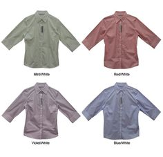 The Renee Stripe Business Shirt 60% Cotton 40% Polyester features 3/4 sleeves, regular collar, stripe pattern on fabric, buttoned front and ample space for your companies printed promotional branding.