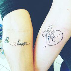 Be happy & love life semicolon tattoos