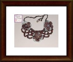 Boho Necklace - Bohemian - Bib - Crocheted Brown Blue Beaded with flowers
