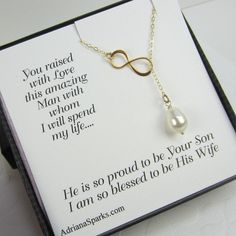 Mother of the Groom card with Infinity Lariat, mothers gifts,Personalized Bridal Party Gift, gifts for mother in law