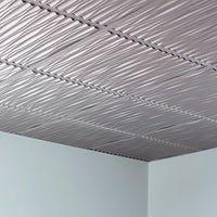 Fasade Dunes Horizontal Brushed Aluminum 2 Foot X 2 Foot Glue Up Ceiling Tile Ceiling Tile Decorating Advice Ceiling Panels