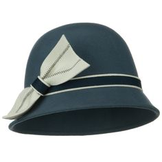 Ribbon Wool Felt Cloche Hat - Navy Ivory