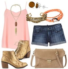 Gold and Tan Summer Outfit Idea