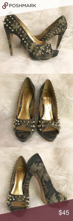 """DIBA women's camo 5 1/2"""" stilettos w/ gold studs Super chic women's camo 5 1/2"""" peep toe stiletto heels with gold spike studs. Gently used. In excellent condition. Ladies! Someone needs to rock these out of my closet!  Diba Shoes Heels"""