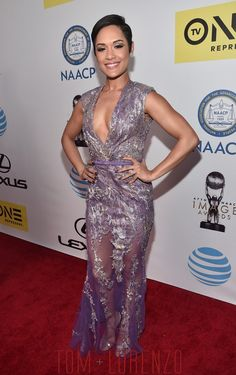 Star of the series #Empire Grace Gealey was stunning last Friday at the #NAACP awards wearing a lavender Ziad Nakad dress. #couture #fashion