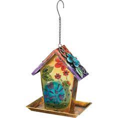 Solar Lantern Bird Feeder Dual Use Hanging Metal Glass Colorful Whimsical Garden #RegalArtGift
