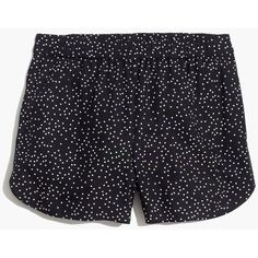 MADEWELL Drapey Pull-On Shorts in Dot ($60) ❤ liked on Polyvore featuring shorts, pindot classic black, pocket shorts, dotted shorts, polka dot shorts, madewell and pull on shorts