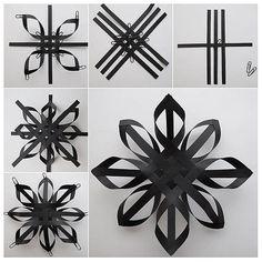 Christmas Origami, Christmas Snowflakes, Christmas Holidays, 3d Snowflakes, Black Christmas, Snowflake Ornaments, Handmade Christmas, Diy Christmas Star, Christmas Ideas