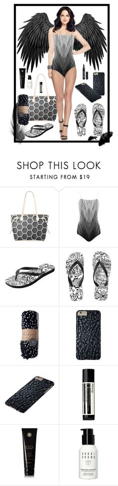 """""""Dark Angel at The Beach"""" by heartofcandy ❤ liked on Polyvore featuring The Beach People, Aesop, Soleil Toujours, Bobbi Brown Cosmetics and Lord & Berry"""