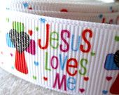 7/8'' Jesus Love Me Grosgrain Ribbon w/Cross