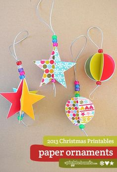 2013 Christmas Printables - Star and Circle Paper Decorations - picklebums.com