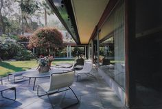 Back patio view of the Bailey house-The Bailey house-Case Study #20 by Richard Neutra-large expanses of glass opens the interior to the exterior. Built 1948