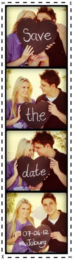 """I may just steal this photo booth-style """"Save the Date"""" idea... different pictures of course but expensive?"""
