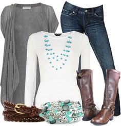 """Grey, blue and brown"" by chells-style on Polyvore"