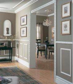 decor, dining rooms, wall colors, grey walls, idea, dining room walls, wall panelling, crown mold, hous