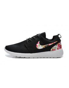 Women's Nike Roshe Run Floral Print Black Shoes 002dw